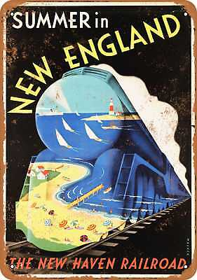 """9"""" x 12"""" Metal Sign - Summer in New England New Haven Railroad - Vintage Look Re"""