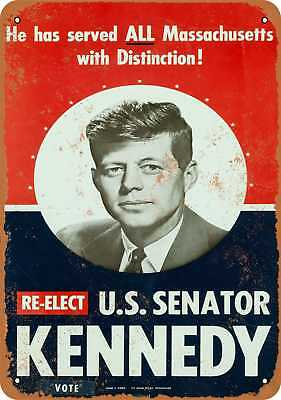 "9"" x 12"" Metal Sign - 1958 John F. Kennedy for Senator - Vintage Look Reproducti"