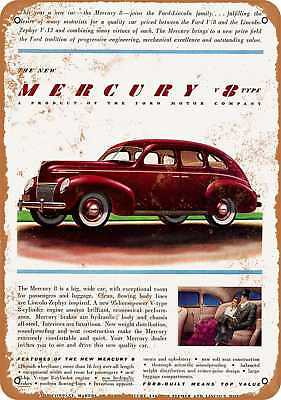 "9"" x 12"" Metal Sign - 1939 Mercury V8 Type Automobiles - Vintage Look Reproducti"