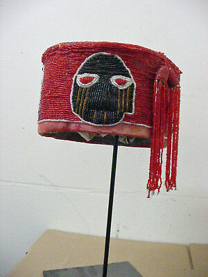 African Art Yoruba Beaded Crown Hat #a  - Nigeria