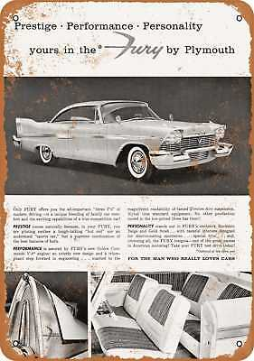"""9"""" x 12"""" Metal Sign - 1958 Plymouth Fury - Vintage Look Repro"""