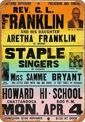 """9"""" x 12"""" Metal Sign - 1960 Aretha Franklin in Chattanooga - Vintage Look Repro"""