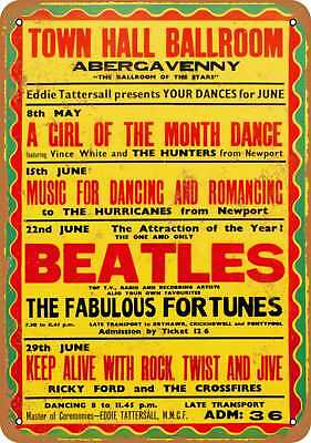 """9"""" x 12"""" Metal Sign - 1963 The Beatles in Abergavenny - Vintage Look Reproductio"""