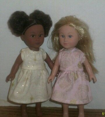 "6/6.5"" Doll Clothes-fit Mini American Girl My Life-2 Dresses-Gold Star Roses"