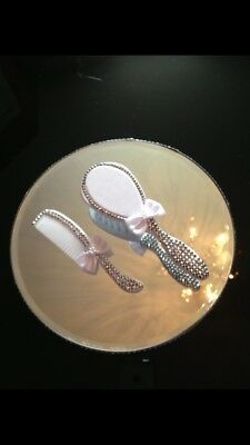 Baby Christening Brush & Comb Set With Gift Box (Silver Crystals)