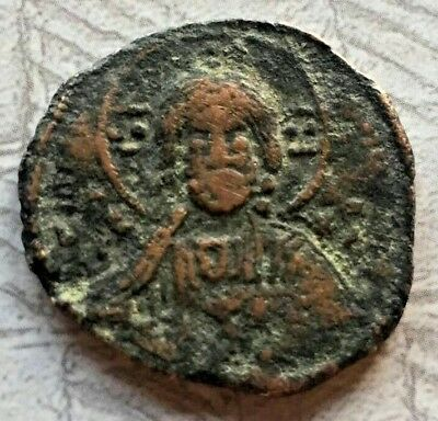 JESUS CHRISTUS Bronze Byzantine Anonymous Follis- Class D / Ancient 1042AD