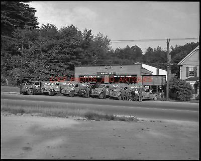 1950S R.c. Fisher Oil Mobilheat Trucks 4X5 Photo Negative Vermont Vtg Mobil Gas