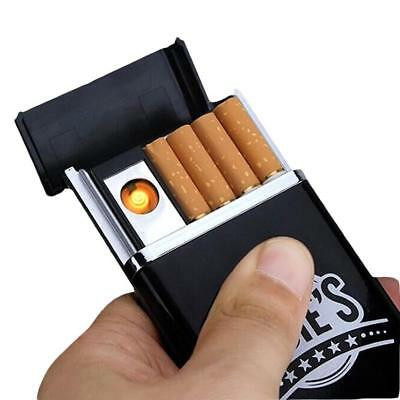 Dual Arc USB Electric Rechargeable Flameless Lighter Cigar Cigarette Box YH