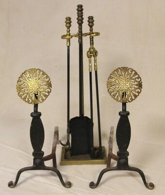 Vintage Arts & Crafts Andirons & Fire Tools