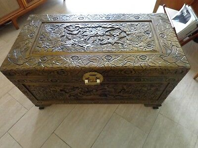 Handcarved Large Asian Campher Trunk , Chest or Coffee Table