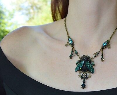 Gothic beetle necklace black green Swarovski crystal scarab insect forest witch