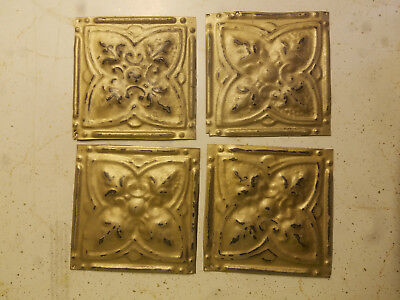 """Reclaimed Tin Ceiling Tiles 4- 6"""" x 6"""" Vintage gold distressed, craft projects"""