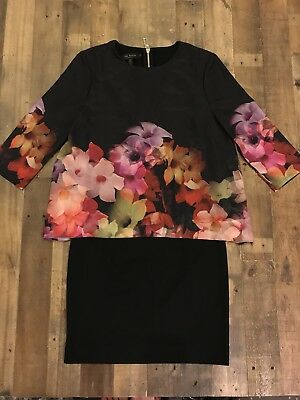 b45e34391edca NWOT Women s Ted Baker London Floral Print Silk Overhang Tunic Dress Size 1