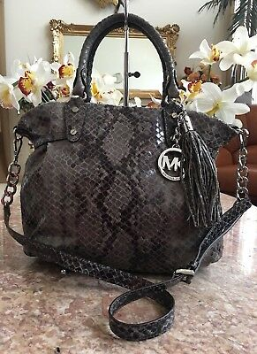 22d5f87ac677 Michael Kors Python Snakeskin Leather Tassel Satchel Cross-body EUC MSRP  $399