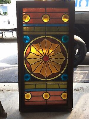 """Antique Beautiful 1800's Heavy Leaded Stained Glass Window Large 38"""" X 12"""""""