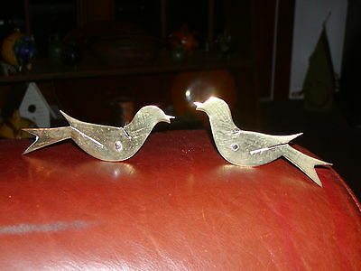 Vintage Primitive Matched Pair of Brass Birds - Iron Pick/Stick Posts