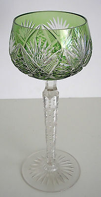 1 Val St Lambert Vintage Light Emerald Cased Cut To Clear Crystal Wine Goblet