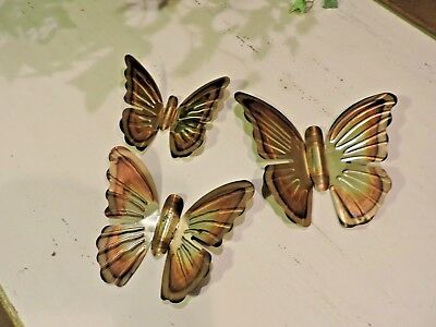 Vintage Home Interiors Homco Gold Metal Butterflies Set of  3 Hang On Wall