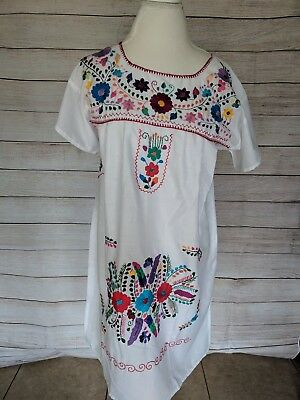 e8ff9905906 White Boho Vintage Style Hand Embroidered Tunic Mexican Dress Hippie Puebla