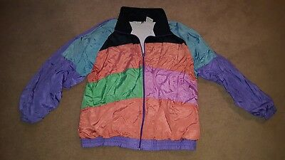 VTG Laura Katherine Windbreaker Track Jacket sz 18W Large XL Colorblock 80s 90s