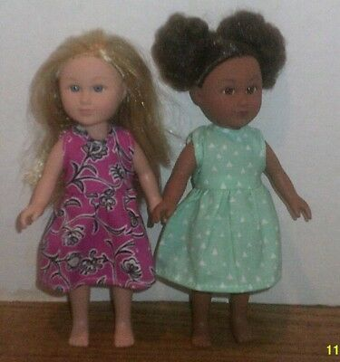 "6/6.5"" Doll Clothes-fit Mini American Girl My Life-2 Dresses-Lt Green Pink Vine"