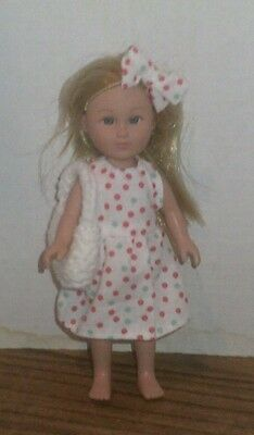 "6/6.5"" Doll Clothes-fit Mini American Girl My Life-Dress,Bag & Bow-White RG Dots"
