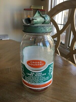 "Vintage Cross Country Lawn Sprayer Glass Bottle 8"" Sears Roebuck No 1566 Jar"
