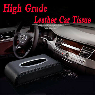 PU Black leather Car Tissue Napkin Box Cover Papers Holder Home Office Bar U9