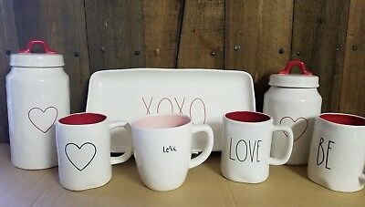 Rae Dunn Valentine Canisters, Mugs, XOXO Tray, Love, BE/ MINE, Hearts