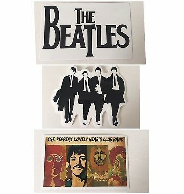 The Beatles Sticker Set 3 Laptop Sized Stickers Approx 1 X 1.5 Inches Each