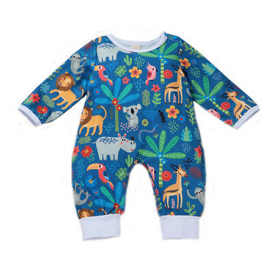 Cartoon Infant Baby Boy Girl Long Sleeve Romper Bodysuit Jumpsuit Clothes Outfit