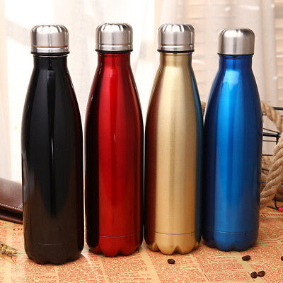 Water Flask Thermos Stainless Steel Vacuum Insulated Double Wall Bottle 350ml-1L