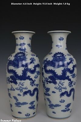 Fine Beautiful Pair Chinese Blue and White Porcelain Dragons Vase