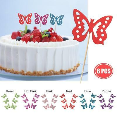 6Pcs DIY Wood Butterfly Cupcake Cake Topper Flags Birthday Wedding Party Decor