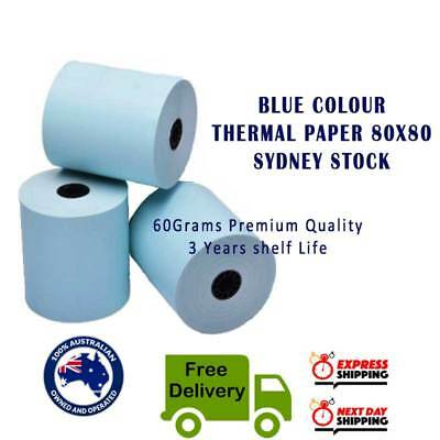 1/3/10/17 Rolls  blue 80x80mm BLUE Thermal Paper Cash Register Receipt Roll