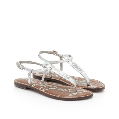 f6fd28e5bd44a Sam Edelman Leather Sandals Sliver Thong Flat Ankle Strap T-Strap Shoes  Size 8