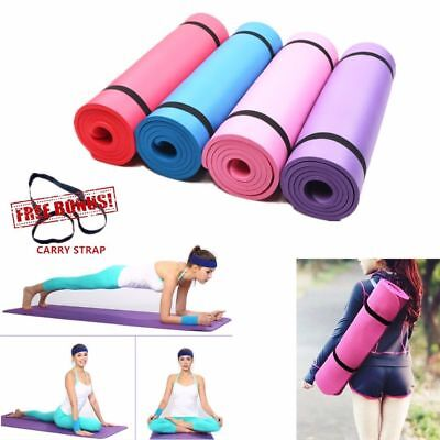 Yoga Mat Exercise Fitness Workout Mat Non Slip Extra Thick 10mm With Carry Strap