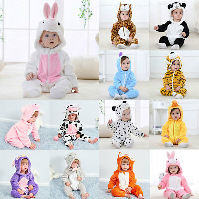 Baby Hooded Flannel Romper Jumpsuit Animal Cosplay Romper Toddler Jumpsuit