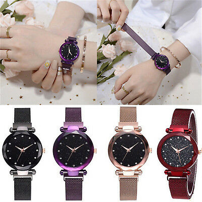 Elegant Women Ladies Crystal Starry Sky Watch Magnetic Strap Watches Gift New CE