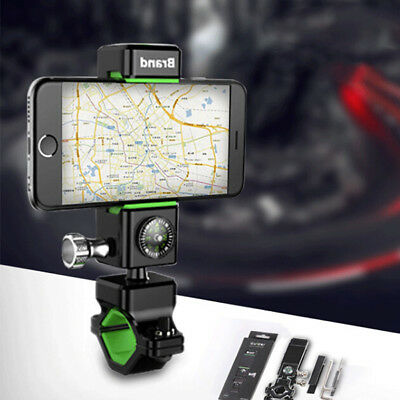 Bicycle Mobile Phone Holder w/ LED Light Built-in Compass Anti-sliding for Bike