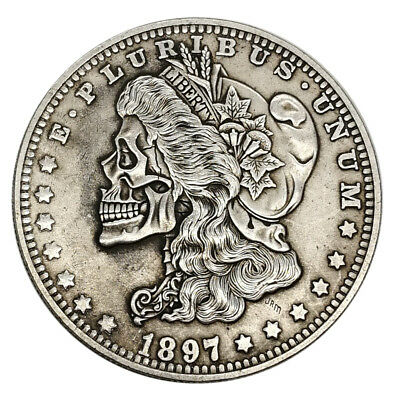 1897 US Skull Hobo Coin Nickel Novelty Zombie Morgan Silver Metal Dollar Stamp