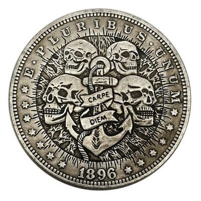 US Four Skull HOBO Nickel Silver Novelty Morgan  Dollar COIN Dollar Stamp