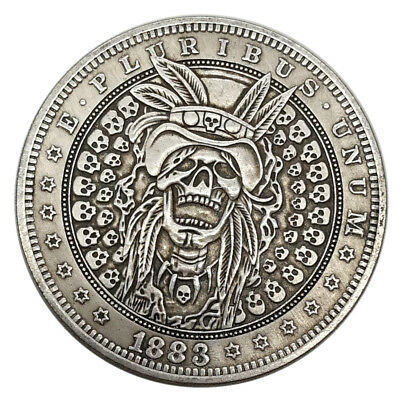 US Skull Hobo Tribal Zombie Pirate Island Coin Morgan Stamp Silver Dollar Gift