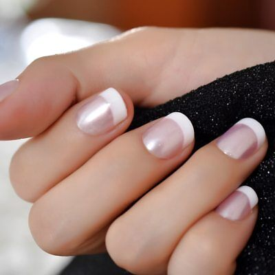 Pearl Pink White French Fake Nails Tips UV Press on Stickers Full False Nail Tip