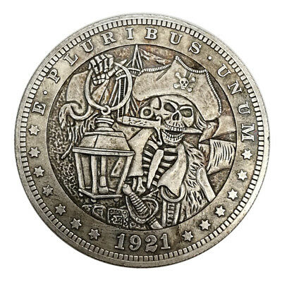 Retro Hobo Zombie Skull Pirate Coin Nickel Morgan Novelty Dollar Stamp
