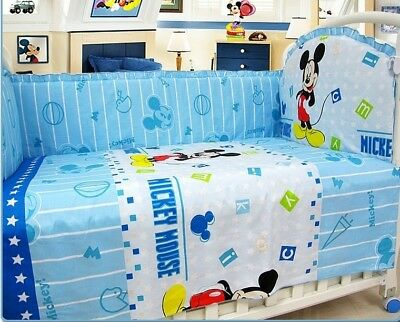 set 6Pcs cover bumper bedding newborn mickey mouse baby infant protector crib ca