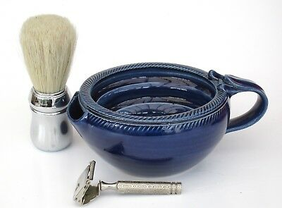 Shaving Scuttle Bowl Large #2 Blue Hand Made/Crafted - Steve Woodhead Ceramics
