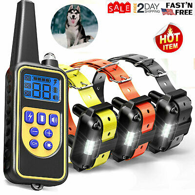 1/2/3 Dog Shock Training Collar With Remote Rechargeable IP67 For Large 880 Yard