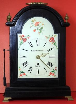 Richard Marshall Antique English 8 Day Arched Dial Ebonised Bracket Clock