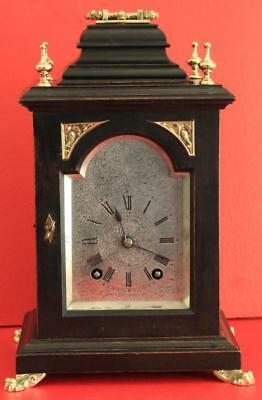 Lenzkirch Antique German 8 Day Silvered Arch Dial Ebonised Bracket Clock